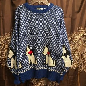 VINTAGE 80s 90s Scottie Dog Novelty Sweater Top M